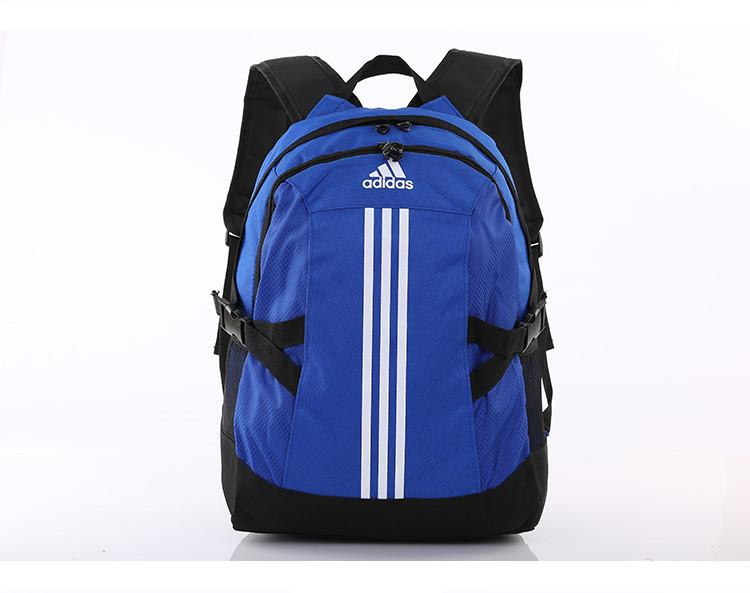Спортивный рюкзак Adidas синий с серебристым логотипом и полосками (реплика)