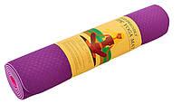 Коврик для йоги и фитнеса Yoga mat 2-х слойный TPE+TC 6mm FI-3046-10 ( 1.83*0.61*6mm) фиолетовый-розовый