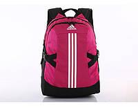 Спортивный рюкзак Adidas фиолетовый с серебристым логотипом и полосками (реплика)