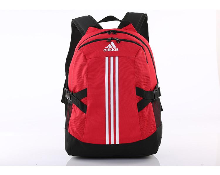 Спортивный рюкзак Adidas красный с серебристым логотипом и полосками (реплика)