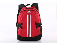 Рюкзак Adidas красный с серебристым логотипом и полосками