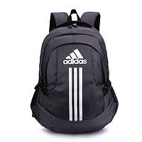 Рюкзак Adidas серый с белым логотипом и полосками