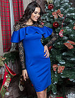 Красивое коктейльное платье с воланом и гипюром цвет электрик