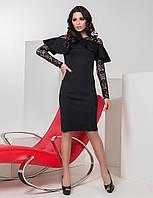 Красивое коктейльное платье с воланом и гипюром цвет черный, фото 1