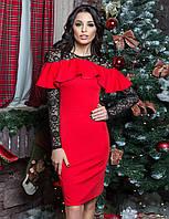Красивое коктейльное платье с воланом и гипюром цвет красный