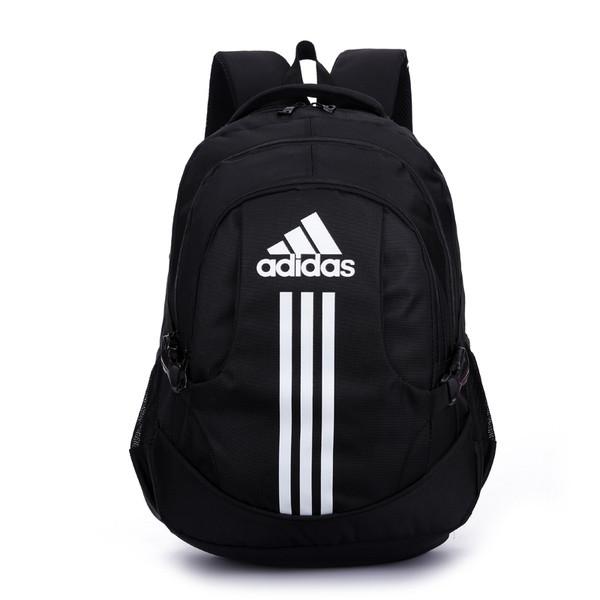 Спортивный рюкзак Adidas черный с белым логотипом и полосками (реплика)