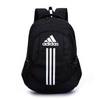 Спортивный рюкзак Adidas черный с белым логотипом и полосками