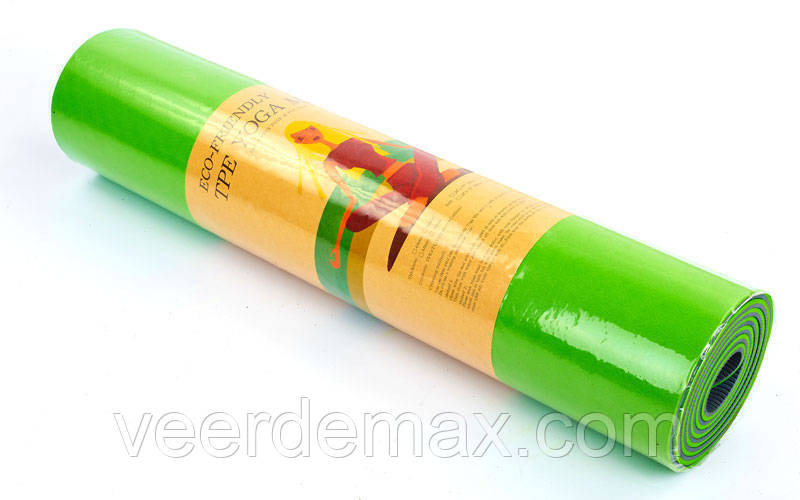 Килимок для йоги та фітнесу Yoga mat 2-х шаровий TPE+TC 6mm FI-3046-11 ( 1.83*0.61*6mm) салатовий-зелений