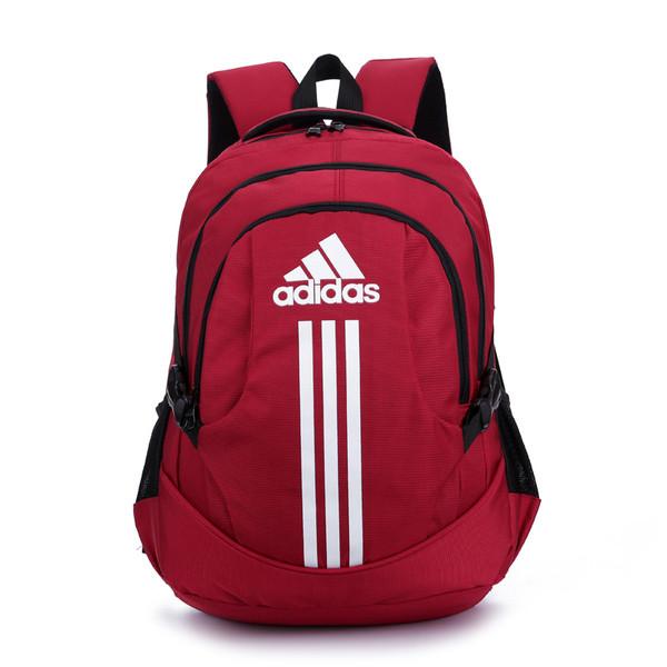 Рюкзак Adidas красный с белым логотипом и полосками (реплика)