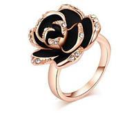 966 - Бижутерия-Кольцо Роза черная с кристаллами