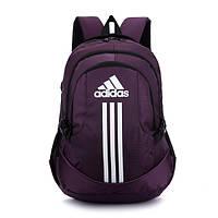 Спортивный рюкзак Adidas фиолетовый с белым логотипом и полосками