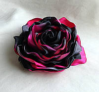 """Брошь из ткани ручной работы """"Пестрая Роза"""""""