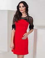Оригинальное коктейльное нарядное платье с перьями красное, фото 1