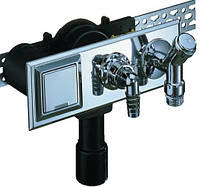 HL406E Сифон для стиральной и посудомоечной машины с подсоединениям воды, с водопроводным краном
