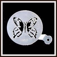 Трафарет маленький диаметр 7,4 см Бабочка, фото 1