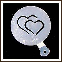 Трафарет маленький диаметр 7,4 см Два сердца, фото 1