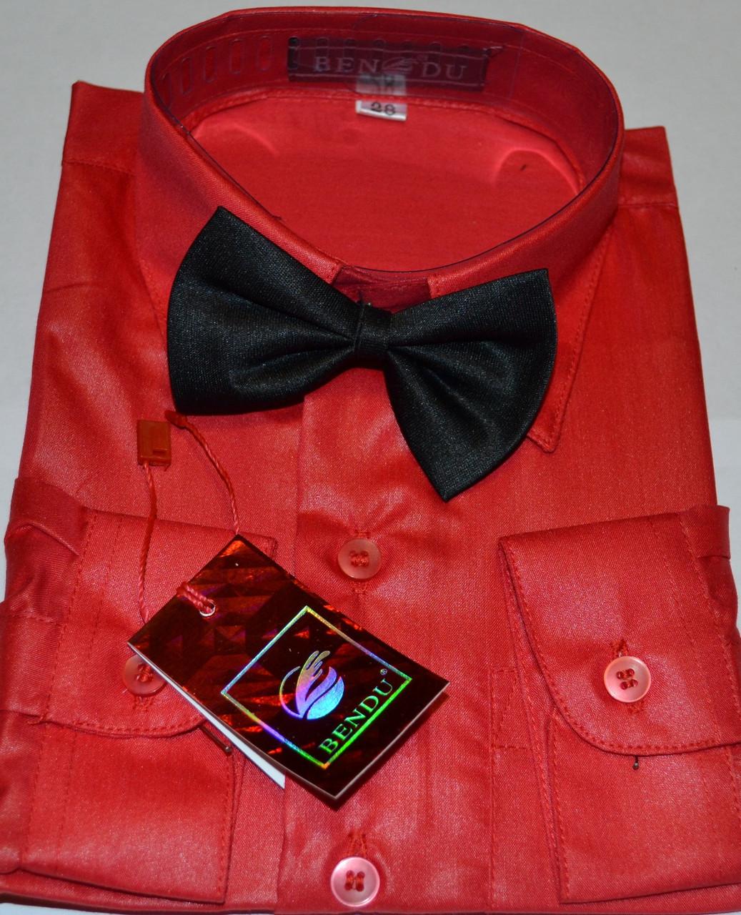 Детская красная рубашка с бабочкой BENDU (размер 25,26,27,28,29)