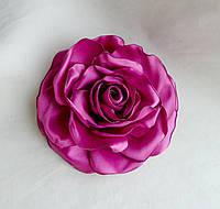 """Брошь из ткани ручной работы """"Лиловая роза"""""""