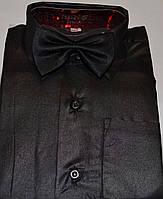 Детская черная рубашка с бабочкой BENDU (размеры 24,25,26,27,28)