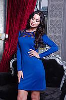 Стильное красивое облегающее платье электрик, фото 1