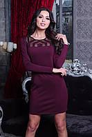 Стильное красивое облегающее платье цвета марсала, фото 1