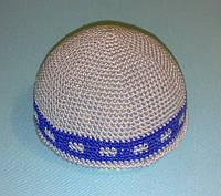 Кипа (еврейская шапочка) серая с синим вязаная