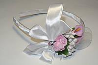 Белый ободок с цветами