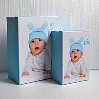 Коробка для упаковки подарка новорожденному (мальчик) (средний размер)