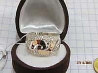 Кольцо из серебра с золотом и фианитами