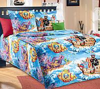 Подростковое полуторное постельное белье с простыню на резинке 90*200*25 - Пираты, бязь ГОСТ