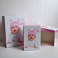 Коробка для упаковки подарка новорожденному (девочка) (средний размер)