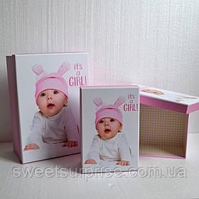 Коробка для упаковки подарка новорожденному (девочка)