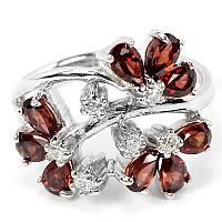 Серебряное кольцо с натуральными гранатами