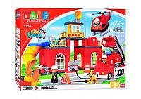"""Конструктор JDLT 5156, """"Пожарная станция"""", 85 деталей, свет, звук, на батарейках, в коробке, тематические игры"""