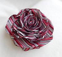 """Брошь из ткани ручной работы """"Полосатая Роза"""""""
