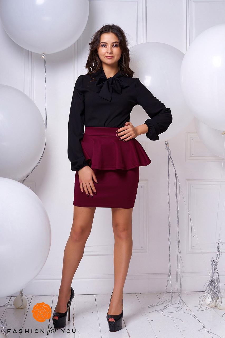 Шифоновая блуза с пышным бантом бордовая и черная