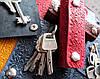 Чехол для ключей с карабинами кожаный узор Вышиванка