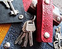 Чехол для ключей с карабинами кожаный узор Вышиванка, фото 1