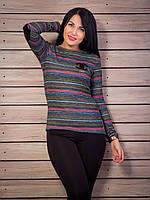 Модный свитер с налокотниками в полоску