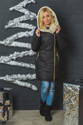 Куртка женская зимняя с молнией черная, фото 2