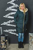 Куртка женская зимняя с молнией т.зелёная