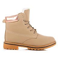 Модные женские ботинки тимберленды светло-бежевые