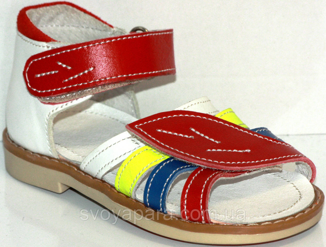 Сандалии для девочки летние кожаные с жестким задником и каблуком Томаса с супинатором