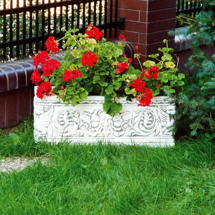 Вазон садовый для цветов «Прямоугольный» бетонный, фото 2