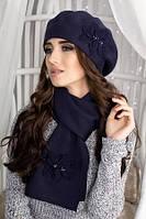 Зимний женский шерстяной берет и шарф, береты и шарфы женские комплекты