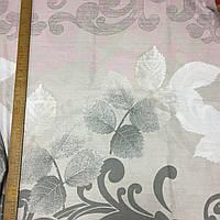 Бязь вензель серый на сером и бледно-розовом