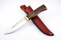 Нож охотничий Трофей с рукоятью из дерева Венге, с кожаным чехлом + эксклюзивные фото