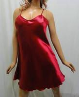 """Атласная ночная рубашка на тонкой бретельке, """"Сердце богини"""" бордовый"""