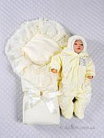 Теплый набор для новорожденной 3 предмета Мария зима Lari р.56 кремовый