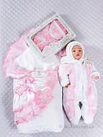 """Зимний комплект на выписку для девочки 5в1 """"Луиза"""" Lari р.56 белый белый комплект розовые кружева"""